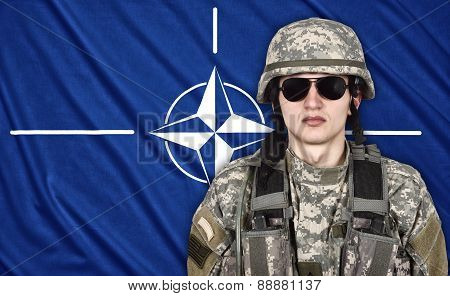 Soldier And Nato Flag