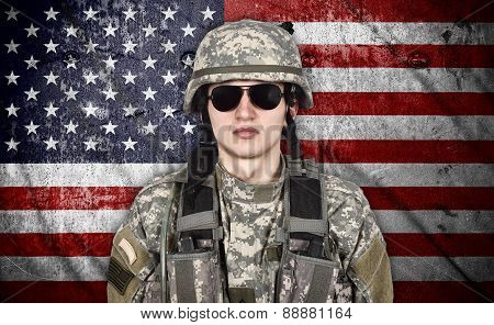 Soldier And Usa Flag