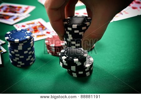 Dealer Collects Poker Chips