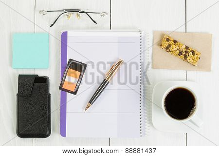 Office Objects On White Wooden Desk