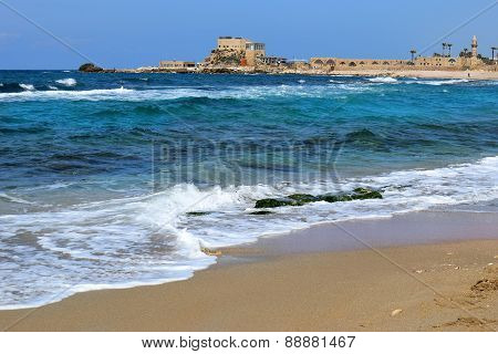 Ancient Port  In Caesarea Maritima, Israel