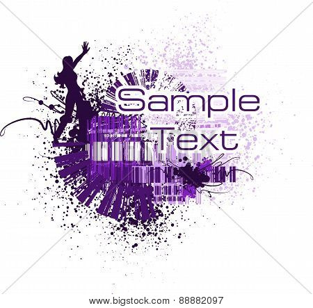 Abstract Background With Girl (vector)