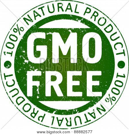 GMO free - rubber stamp. Vector illustration for your design.