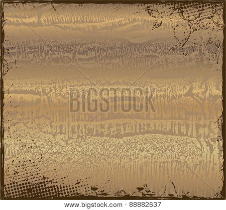 Gold grunge background with dark border. Vector illustration for your design.