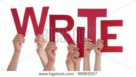Many People Hands Holding Red Word Write