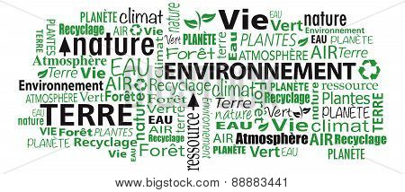 French Environment cloud word collage illustration vector