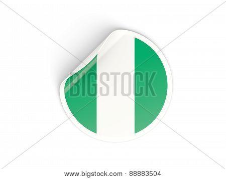 Round Sticker With Flag Of Nigeria