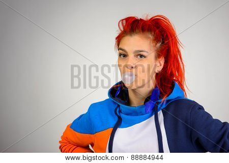 Studio shot of young beauty girl in casual sport style clothing