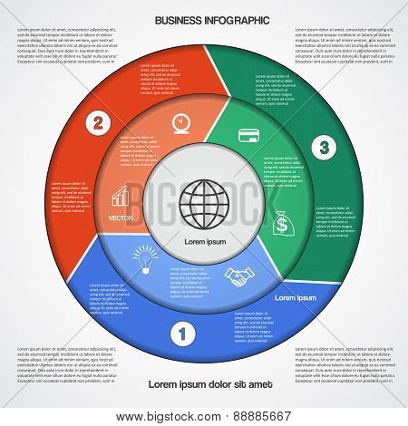 Circular Infographic Template With Text Areas On Three Positions