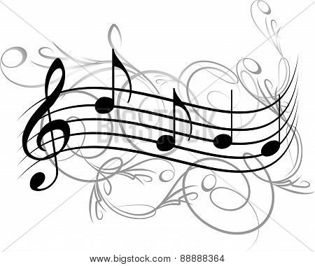 Abstract musical background with a treble clef and notes. Vector illustration for your design.