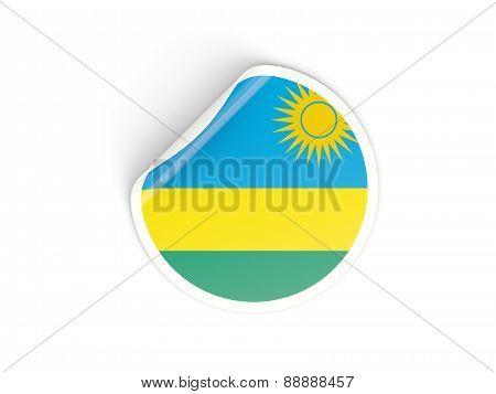 Round Sticker With Flag Of Rwanda