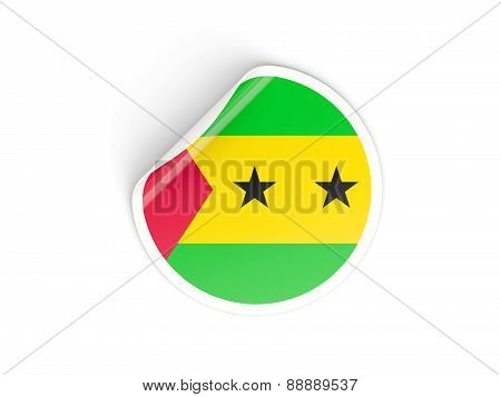 Round Sticker With Flag Of Sao Tome And Principe
