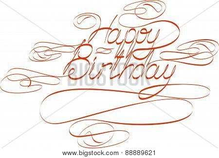 Handwriting text Happy Birthday with swirls. Vector illustration for your design.