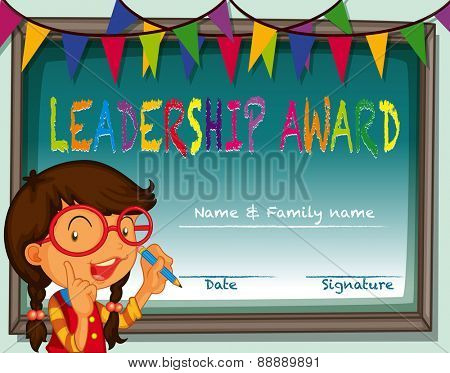 Certificate of leadership award with girl and flag background
