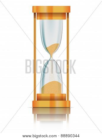 Hourglass with reflection. Vector illustration for your design.