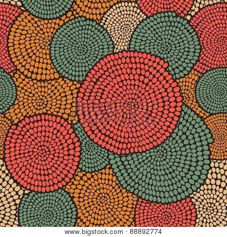 Traditional African Ornament With Swirls. Seamless Pattern. Warm Colors.