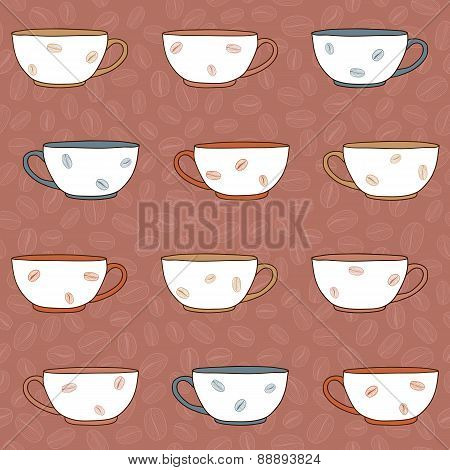 Hand Drawn Coffee Cups Illustration. Seamless Pattern.