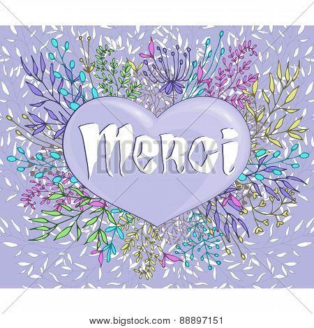 Inspirational phrase Merci framed by flowers