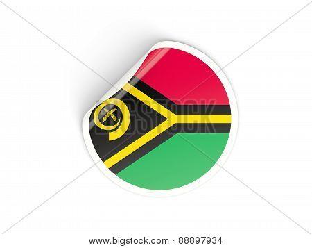 Round Sticker With Flag Of Vanuatu