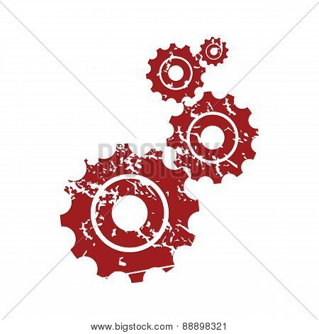 Red grunge mechanism logo