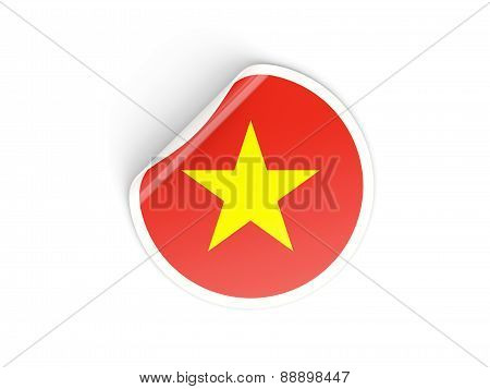 Round Sticker With Flag Of Vietnam