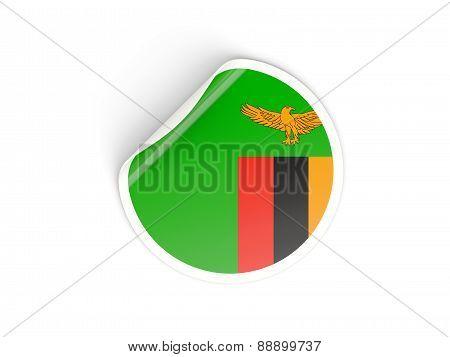Round Sticker With Flag Of Zambia