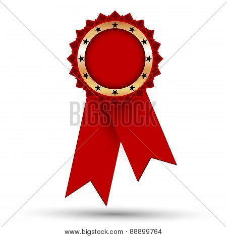 Golden Medal With Red Ribbons