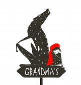 stock photo of hoods  - Little Red Riding Hood and the wolf sitting back to back on a sign with the sign Grandma - JPG