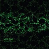 picture of cybernetics  - Vector element of green abstract cybernetic particles on black background - JPG