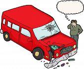 foto of bender  - Sad man looking at smashed up car and windshield - JPG