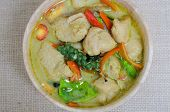 picture of thai cuisine  - Green curry fish balls is Thai cuisine. ** Note: Soft Focus at 100%, best at smaller sizes - JPG