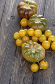 picture of black-cherry  - Close up of black an cherry tomatoes - JPG