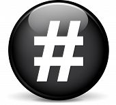 stock photo of hashtag  - Illustration of hashtag modern design black sphere icon - JPG