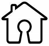 pic of keyhole  - black keyhole silhouette on home icon - JPG
