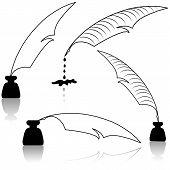 picture of inkwells  - Set Inkwell and feather for education concept - JPG