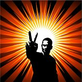 picture of peace-sign  - silhouette of man giving peace sign on starburst background - JPG
