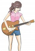 pic of guitar  - Cartoon girl playing guitar in white isolated background - JPG