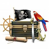 picture of anchor  - Pirate concept with chest - JPG