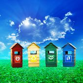 image of recycle bin  - Colorful recycle bins ecology concept with landscape background - JPG