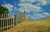 image of pale  - a wooden long paling along a hill - JPG