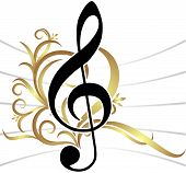 picture of g clef  - Abstract musical background with treble clef - JPG
