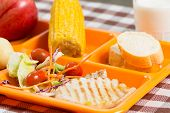 picture of loin cloth  - Tray of food in a school canteen - JPG