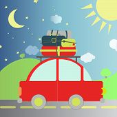 image of car carrier  - Car with luggage and bags transiting the night and day - JPG