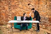 picture of argument  - Argument ensuing in a grunge office a business concept - JPG