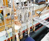 picture of sailing vessel  - marine rope on top an ols sailing vessel - JPG