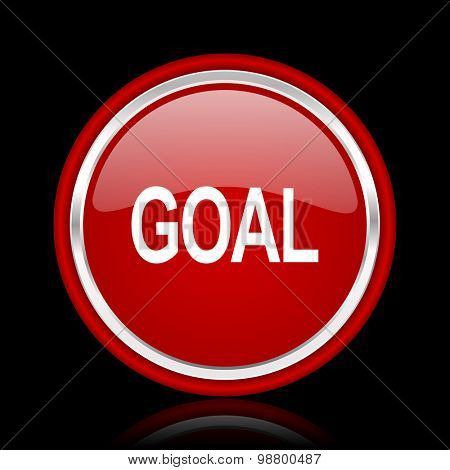 goal red glossy web icon chrome design on black background with reflection