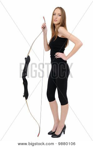 Woman Holding Bow
