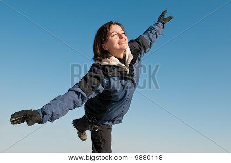 Winter Pleasure - Woman Enjoying Outdoors