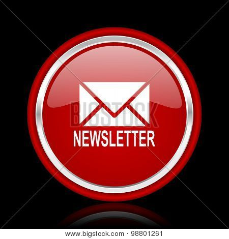 newsletter red glossy web icon chrome design on black background with reflection