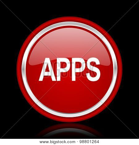 apps red glossy web icon chrome design on black background with reflection